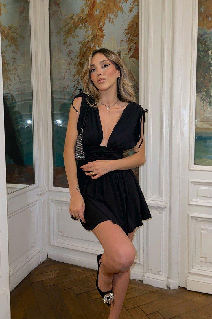 Black Decollete Detail Mini Dress