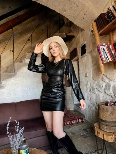 EYYO - Black Leather Dress