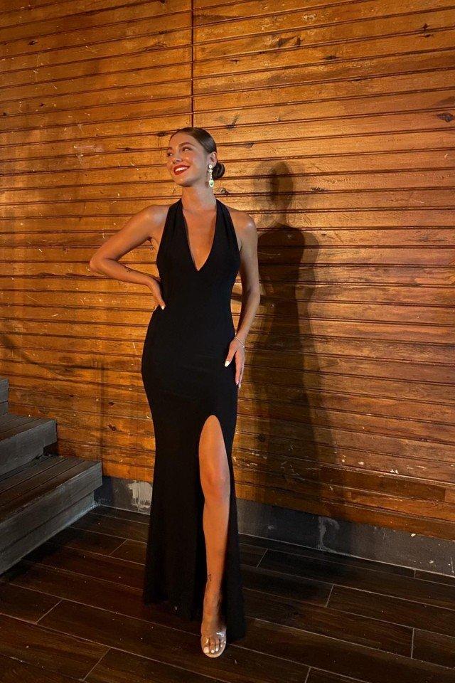 EYYO - Black Maxi Length Slit Dress