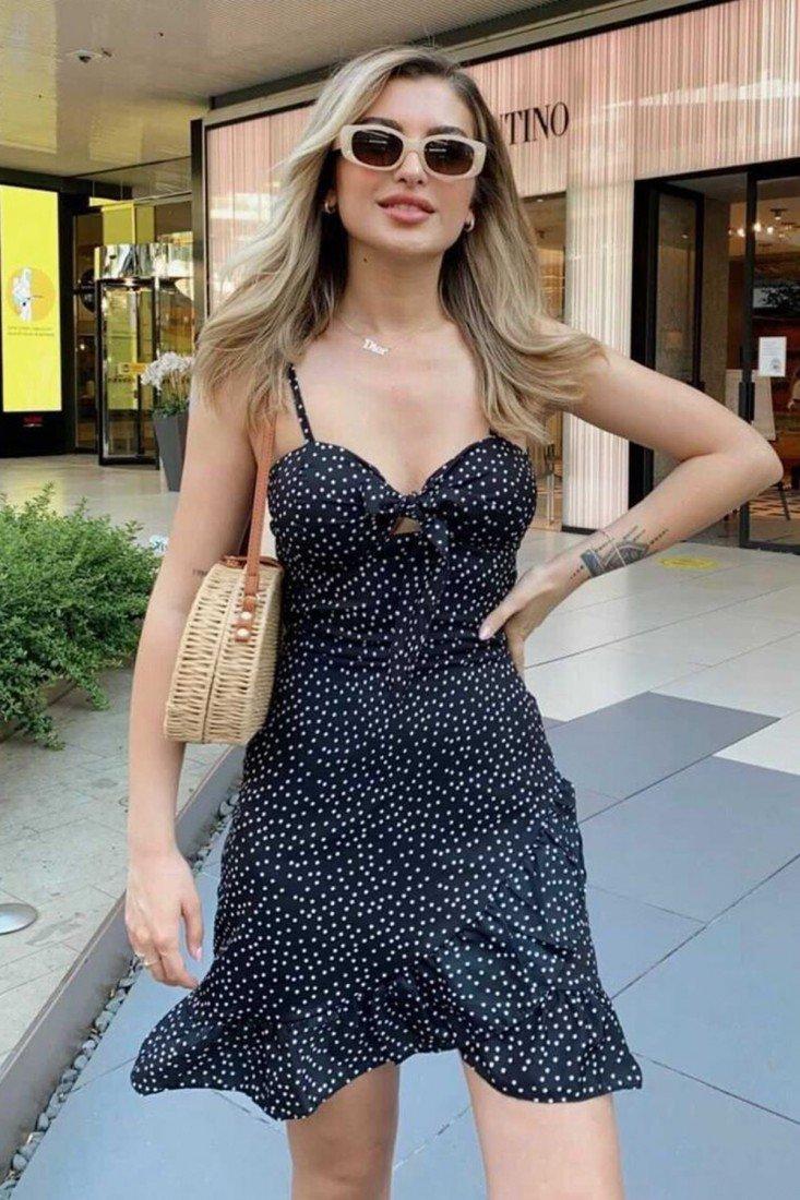 Black Polka Dot Strap Mini Dress