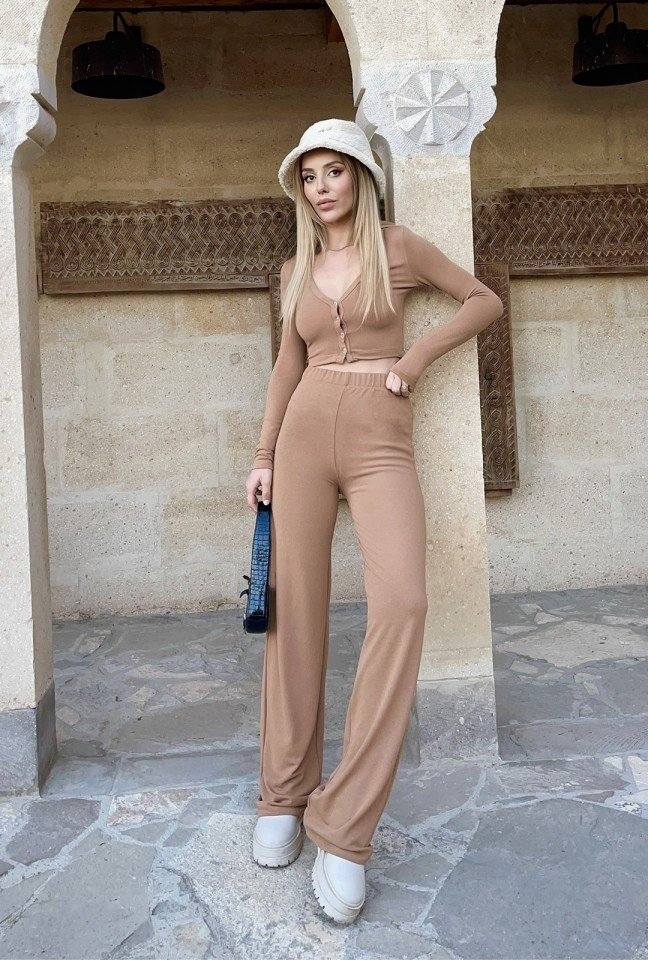 EYYO - Button-Front Trousers Set