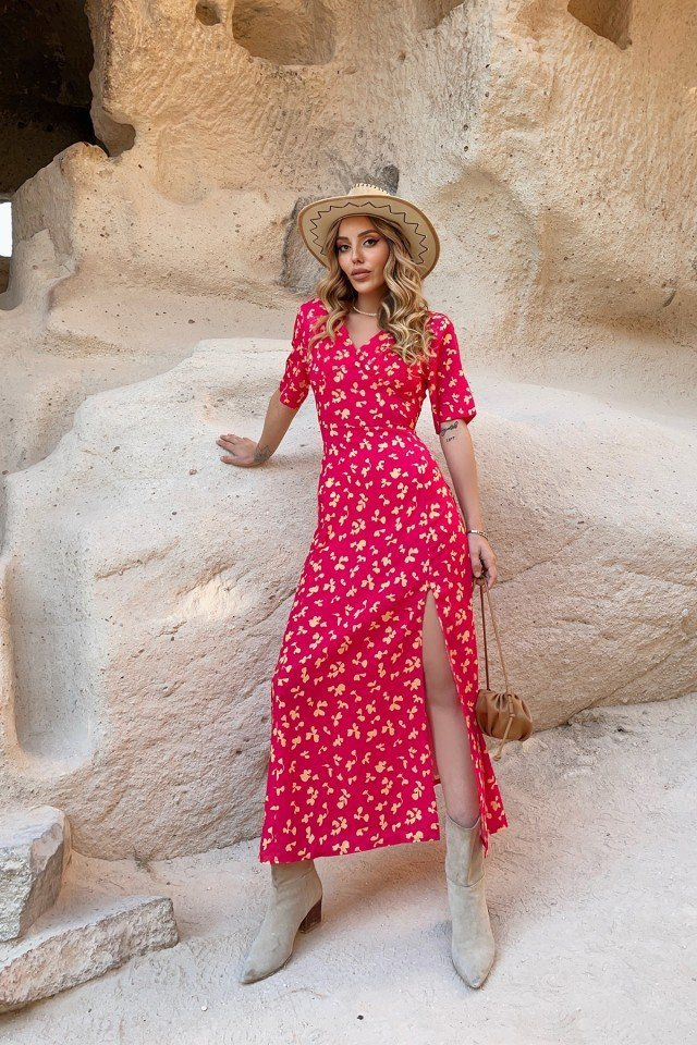 EYYO - Double Breasted Collar Maxi Length Dress