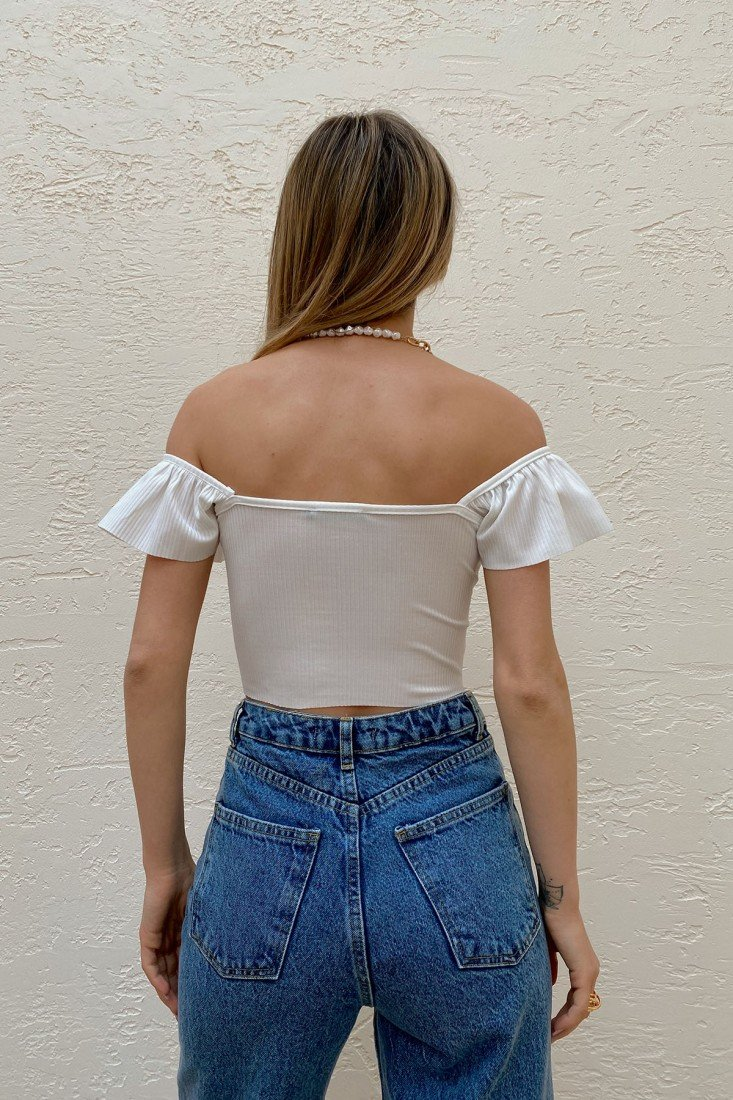 Front Pleated Madonna Blouse