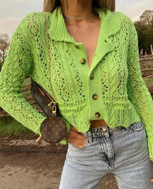 Green Knitted Detail Cardigan