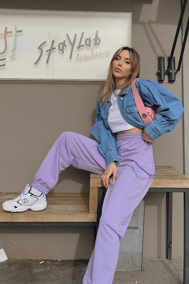 EYYO - Lilac Rubber Trousers