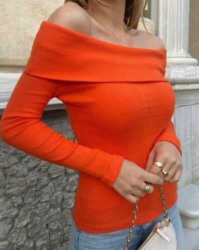 EYYO - Orange Boat Neck Blouse