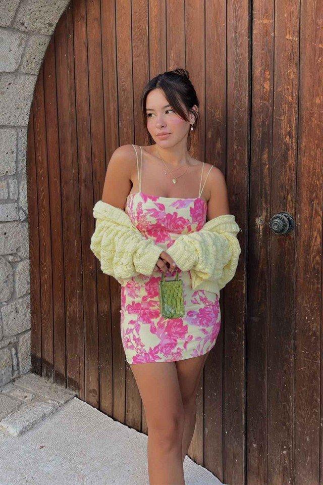 EYYO - Pembe Askılı Mini Elbise RBW3
