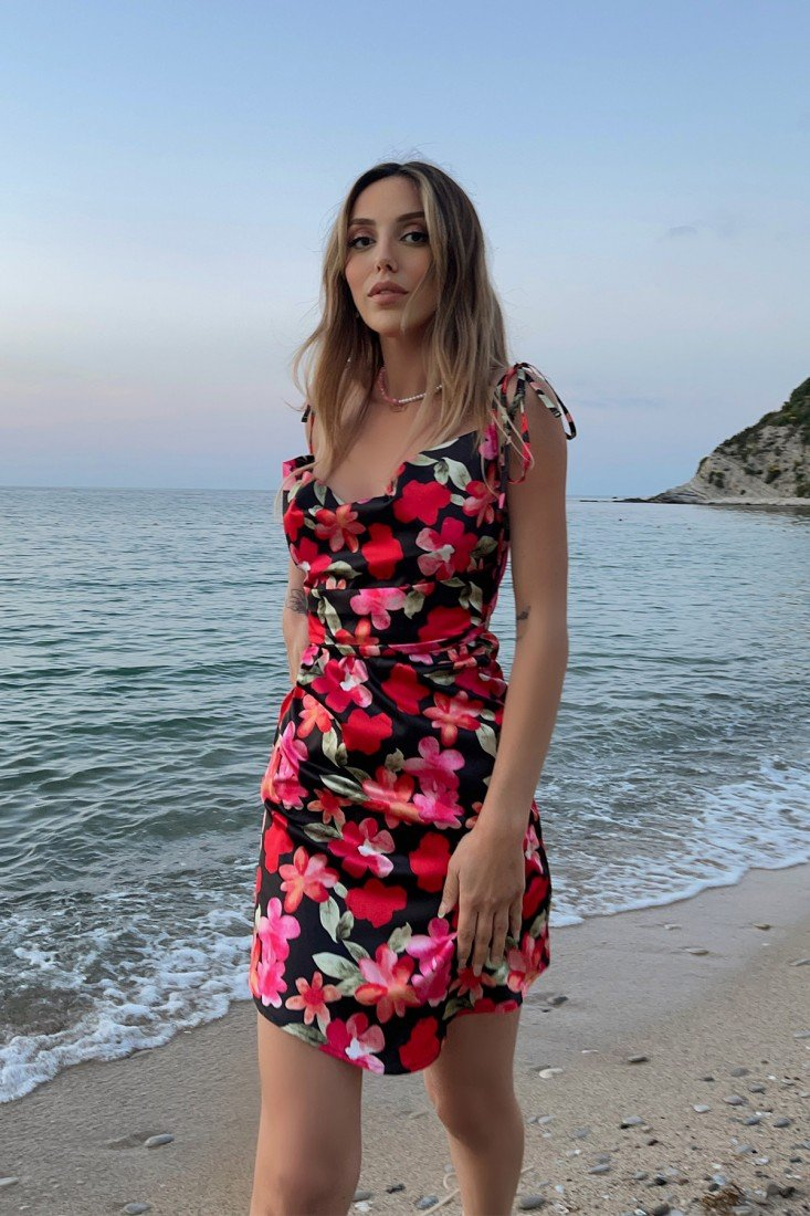 Plunging Collar Floral Dress