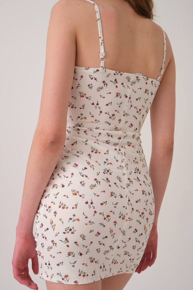 White Flower Patterned Strappy Dress