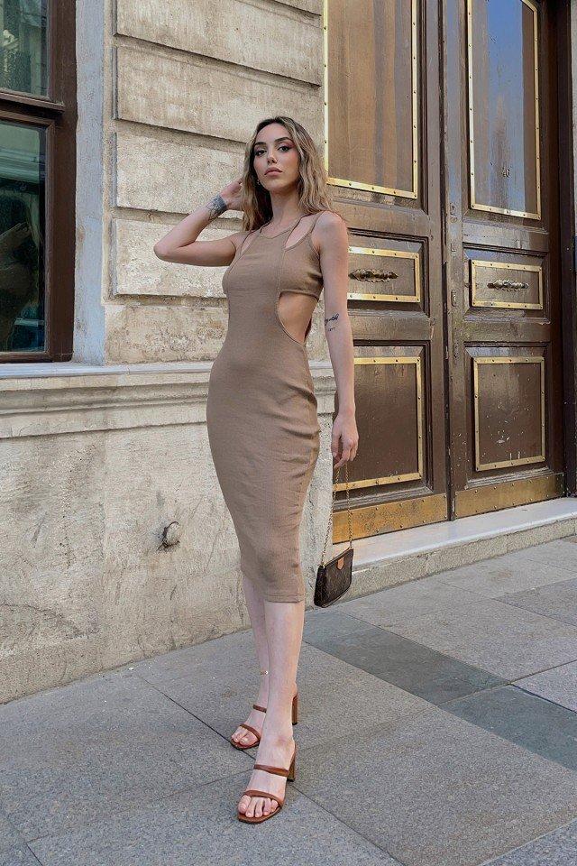 EYYO - Yanları Pencere Detay Askılı Elbise VTG3