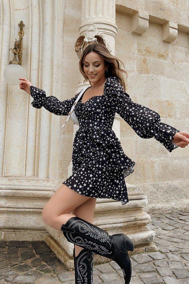EYYO - Yıldız Desen Kalp Yaka Elbise HP1