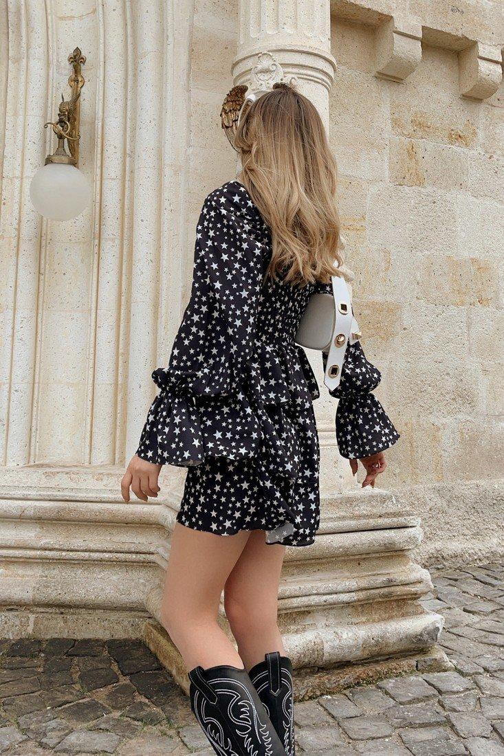 Yıldız Desen Kalp Yaka Elbise HP1